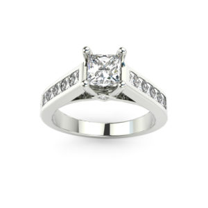 IMAGE OF 31-8255 ENGAGEMENT RING WITH SIDE STONES_PRINCESS CUT CENTRE DIAMOND, CHANNEL SET SIDE STONES