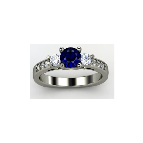 IMAGE OF 31-988A LADIES STONE RINGS_ENGAGEMENT STYLE SAPPHIRE AND DIAMOND RING