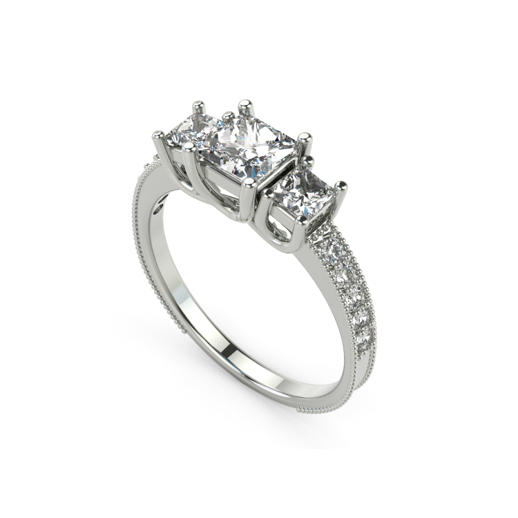 Princess 1.25 t Diamond Engagement Silver Ring 18K White Gold Over Size 4.5