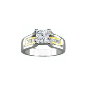 IMAGE OF 31-AD561 ENGAGEMENT RINGS_ENGAGING RING WITH SIDE DIAMONDS PRINCESS CUT CENTER