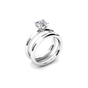 IMAGE OF 31-B170 ENGAGEMENT RINGS_CLASSIC MODERN FASHIONABLE BRIDAL RING YOUR CHOICE OF CENTER DIAMOND