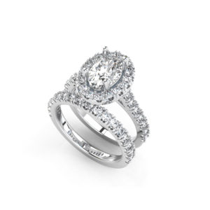 IMAGE OF 31-B174 ENGAGEMENT RINGS_ENGAGING BRIDAL RING WITH SIDE DIAMONDS OVAL CUT CENTER