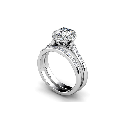 31-B278 ENGAGEMENT RINGS_BRIDAL SETS WITH MATCHING BAND HALO STYLE