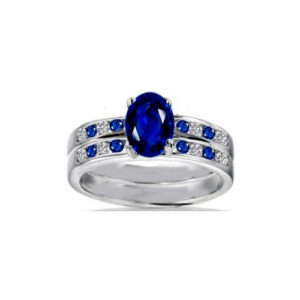 IMAGE OF 31-BR78 LADIES STONE RINGS_ENGAGEMENT STYLE SAPPHIRE AND DIAMOND RING WITH MATCHING WEDDING BAND
