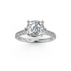 image of 31-C565 ENGAGEMENT RING WITH SIDE STONES_CUSHION CUT CENTER DIAMOND WITH ROUND SIDE STONES