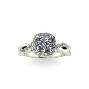 image of 31-C5655 ENGAGEMENT RING WITH SIDE STONES_BRILLIANT CUT CENTER DIAMOND WITH ROUND SIDE STONES