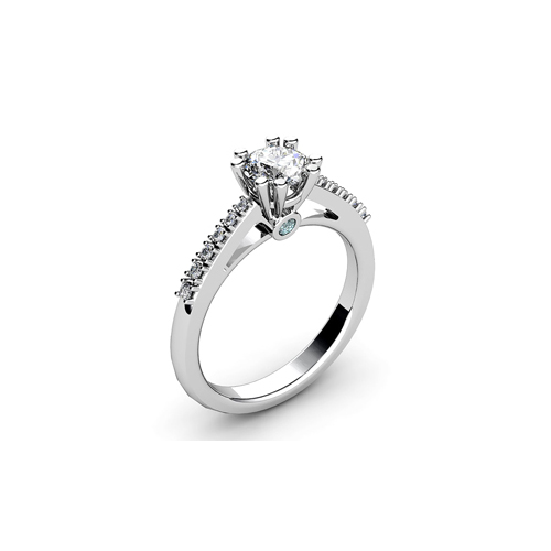 IMAGE OF 31-E935 ENGAGEMENT RING WITH SIDE STONES_ROUND CUT CENTER DIAMOND PRONG SET SIDE STONES