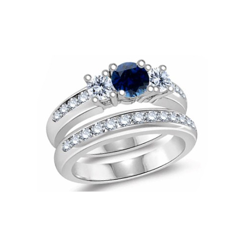 IMAGE OF 31-GH434 LADIES STONE RINGS_ENGAGEMENT STYLE SAPPHIRE AND DIAMOND RING WITH MATCHING WEDDING BAND