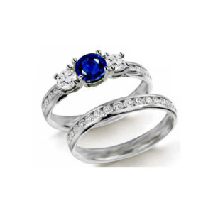 IMAGE OF 31-GH755 LADIES STONE RINGS_ENGAGEMENT STYLE SAPPHIRE AND DIAMOND RING WITH MATCHING WEDDING BAND