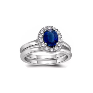 IMAGE OF 31-GH777 LADIES STONE RINGS_ENGAGEMENT STYLE SAPPHIRE AND DIAMOND RING WITH MATCHING WEDDING BAND