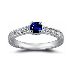IMAGE OF 31-GH99 LADIES STONE RINGS_ENGAGEMENT STYLE SAPPHIRE AND DIAMOND RING
