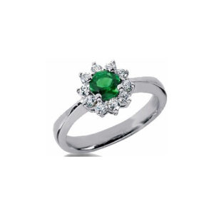 IMAGE OF 31-bh127 LADIES STONES RINGS_FINE QUALITY EMERALD AND DIAMOND RING