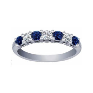 IMAGE OF 33-1284 LADIES STONE RINGS_BLUE SAPPHIRES AND DIAMOND BAND