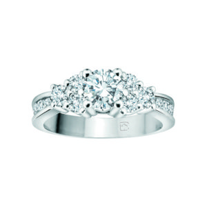 IMAGE OF 33-350 ENGAGEMENT RING WITH SIDE STONES_ROUND CUT DIAMOND TRINITY RING