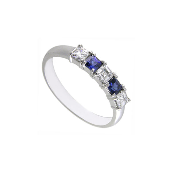 IMAGE OF 33-8716 LADIES STONE RINGS_BLUE SAPPHIRES AND DIAMOND BAND