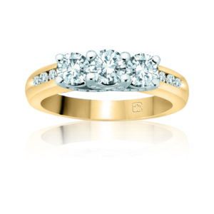 IMAGE OF 33-TR106 TRINITY DIAMOND RING_ 3 STONE CENTER WITH SIDE DIAMONDS