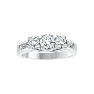 IMAGE OF 33-TR107 TRINITY DIAMOND RING_ 3 STONE CENTER WITH SIDE DIAMONDS
