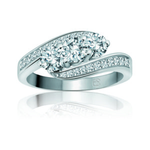 IMAGE OF 33-TR110 TRINITY DIAMOND RING_ 3 STONE CENTER WITH SIDE DIAMONDS