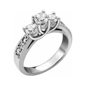 image of 33-TR111 TRINITY DIAMOND RING_ 3 STONE CENTRE WITH SIDE DIAMONDS