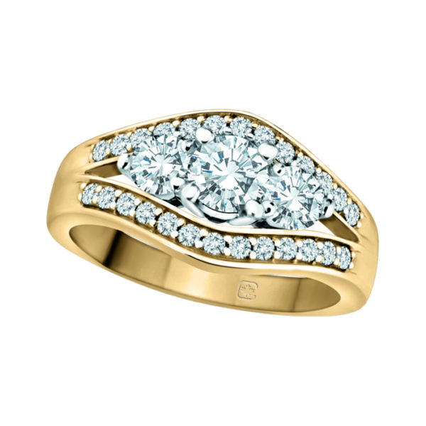 IMAGE OF 33-TR113 TRINITY DIAMOND RING_ 3 STONE CENTER WITH SIDE DIAMONDS