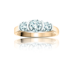 image of 33-TR115 TRINITY DIAMOND RING_ 3 STONE CHANNEL SET DIAMONDS
