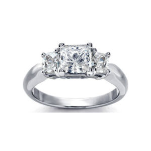 image of 33-TR120 TRINITY DIAMOND RING_ 3 STONE CHANNEL SET PRINCESS CUT DIAMONDS