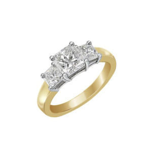image of 33-TR122 TRINITY DIAMOND RING_ 3 STONE CHANNEL SET PRINCESS CUT DIAMONDS