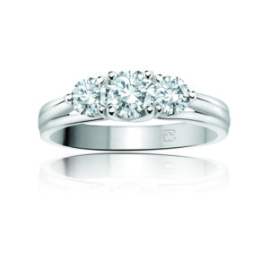 image of 33-TR162 TRINITY DIAMOND RING_ ONE CARAT TOTAL WEIGHT, 3 STONE PRONG SET DIAMONDS