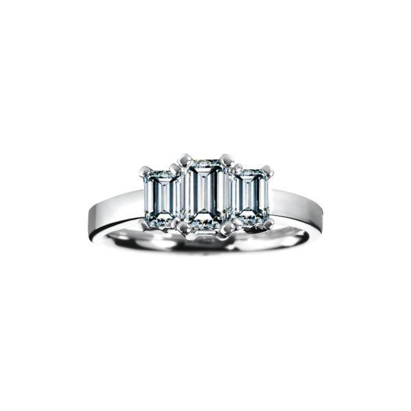IMAGE OF 33-TR172 TRINITY DIAMOND RING_ ONE CARAT EMERALD CUT DIAMONDS TOTAL WEIGHT, 3 STONE PRONG SET DIAMONDS