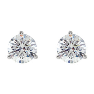 image of 51-3A-75 DIAMOND EARRING AND PENDANTS_3 PRONG 0.75CT. ROUND BRILLIANT CUT SOLITAIRE DIAMOND STUDS