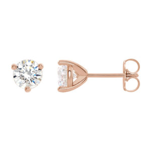 image of 51-3A50 DIAMOND EARRING AND PENDANTS_3 PRONG 0.50CT. ROUND BRILLIANT CUT SOLITAIRE DIAMOND STUDS