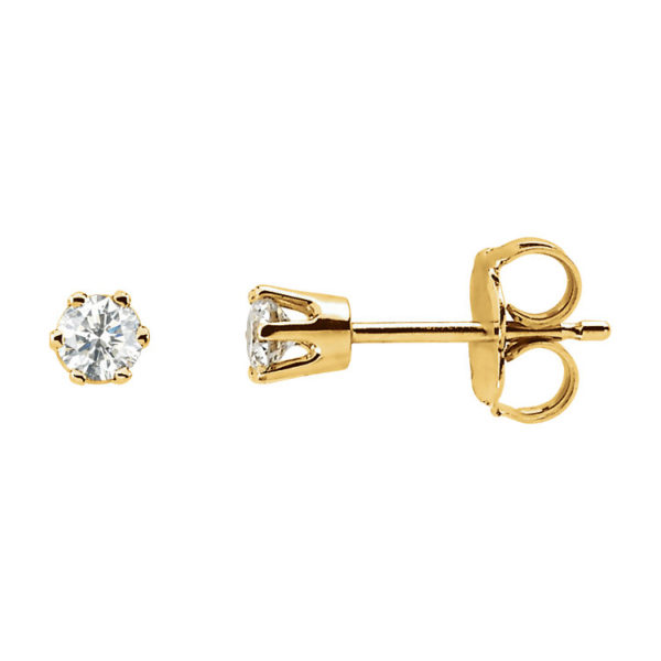 image of 51-6A-15 DIAMOND EARRING AND PENDANTS_6 PRONG 0.15CT. ROUND BRILLIANT CUT SOLITAIRE DIAMOND STUDS
