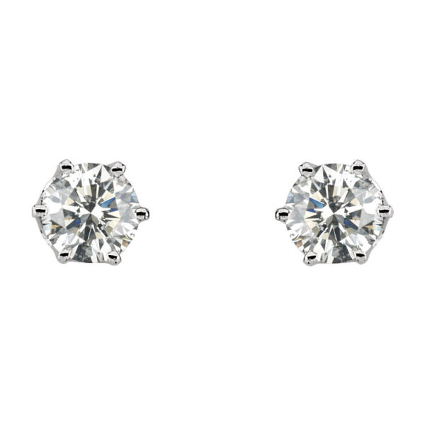 image of 51-6A-50 DIAMOND EARRING AND PENDANTS_3 PRONG 0.50CT. ROUND BRILLIANT CUT SOLITAIRE DIAMOND STUDS
