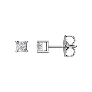 IMAGE OF 51-PR30 DIAMOND EARRING AND PENDANTS_0.30CT. PRINCESS CUT SOLITAIRE DIAMOND STUDS