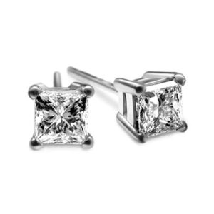 IMAGE OF 51-PR50 DIAMOND EARRING AND PENDANTS_0.50CT. PRINCESS CUT SOLITAIRE DIAMOND STUDS