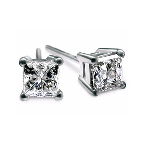 IMAGE OF 51-PR70 DIAMOND EARRING AND PENDANTS_0.70CT. PRINCESS CUT SOLITAIRE DIAMOND STUDS