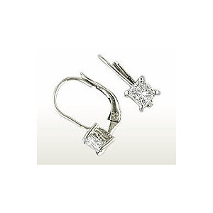 image of 51-PRZ DIAMOND EARRING AND PENDANTS_CUBIC ZIRCONIA PRINCESS CUT EARRINGS WITH FRENCH BACKS