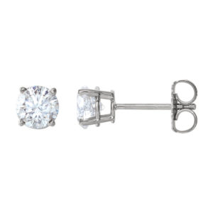 image of 51-RD100 DIAMOND EARRING AND PENDANTS_ONE CARAT ROUND BRILLIANT CUT SOLITAIRE DIAMOND STUDS