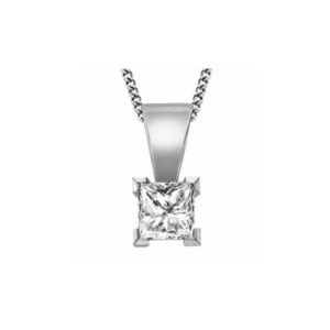 IMAGE OF 60-PR40 DIAMOND EARRING AND PENDANTS_0.40CT. PRINCESS CUT SOLITAIRE DIAMOND SOLITAIRE PENDANT WITH CHAIN