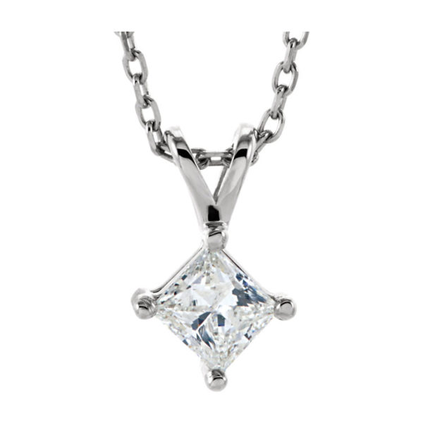 IMAGE OF 60-PR60 DIAMOND EARRING AND PENDANTS_0.60CT. PRINCESS CUT SOLITAIRE DIAMOND SOLITAIRE PENDANT WITH CHAIN