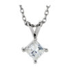 IMAGE OF 60-PR70 DIAMOND EARRING AND PENDANTS_0.70CT. PRINCESS CUT SOLITAIRE DIAMOND SOLITAIRE PENDANT WITH CHAIN