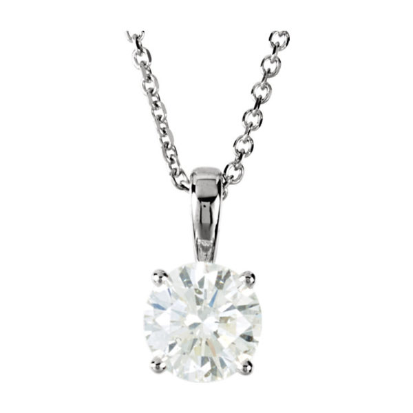 IMAGE OF 60-RD25 DIAMOND EARRING AND PENDANTS_0.25CT. ROUND BRILLIANT CUT SOLITAIRE DIAMOND PENDANT WITH CHAIN