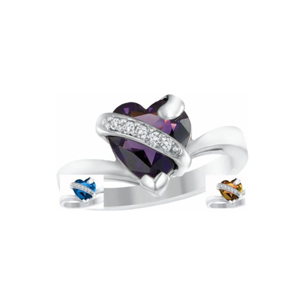IMAGE OF 71-2564 LADIES STONES RINGS_ CHOICE OF AMETHYST-BLUE TOPAZ OR TOPAZ AND DIAMONDS