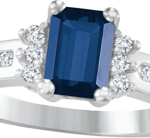 image of 71-53752 LADIES STONES RINGS_SAPPHIRE AND DIAMOND RING