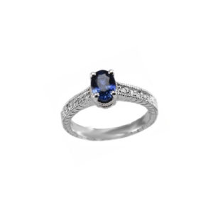 IMAGE OF 71-B500 LADIES STONE RINGS_ENGAGEMENT STYLE SAPPHIRE AND DIAMOND RING