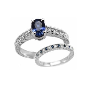 IMAGE OF 71-BM500 LADIES STONE RINGS_ENGAGEMENT STYLE SAPPHIRE AND DIAMOND RING WITH MATCHING WEDDING BAND