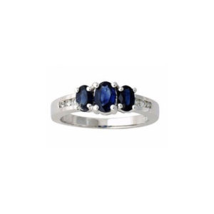 IMAGE OF 71-BS199 LADIES STONE RINGS_ENGAGEMENT STYLE SAPPHIRE AND DIAMOND RING
