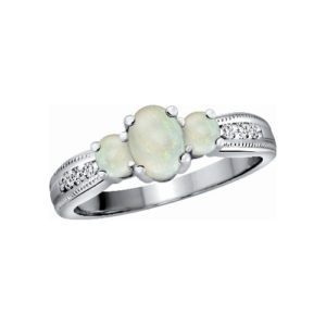 image of 71-BV79 LADIES STONES RINGS_OPAL AND DIAMOND RING