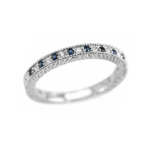 IMAGE OF 71-BW500 LADIES STONE RINGS_BLUE SAPPHIRES AND DIAMOND BAND