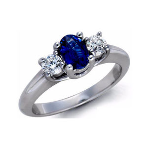 IMAGE OF 71-S212 LADIES STONE RINGS_ENGAGEMENT STYLE SAPPHIRE AND DIAMOND RING